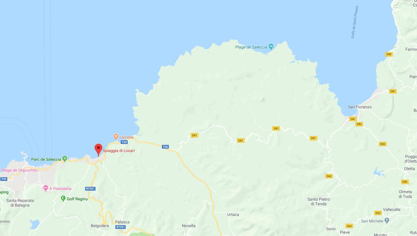 mappa della Corsica e della plage de Lozari