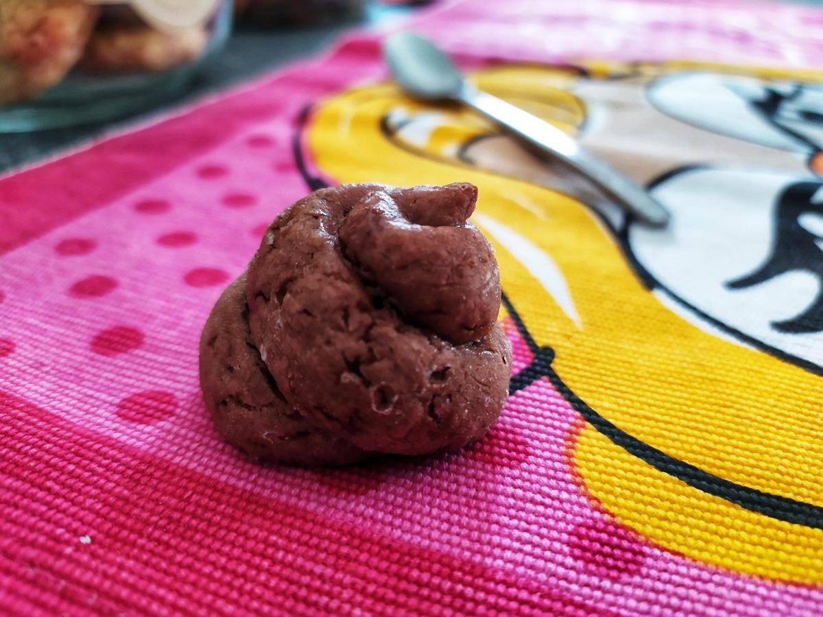 biscottino al cioccolato a forma di cacchina di arale