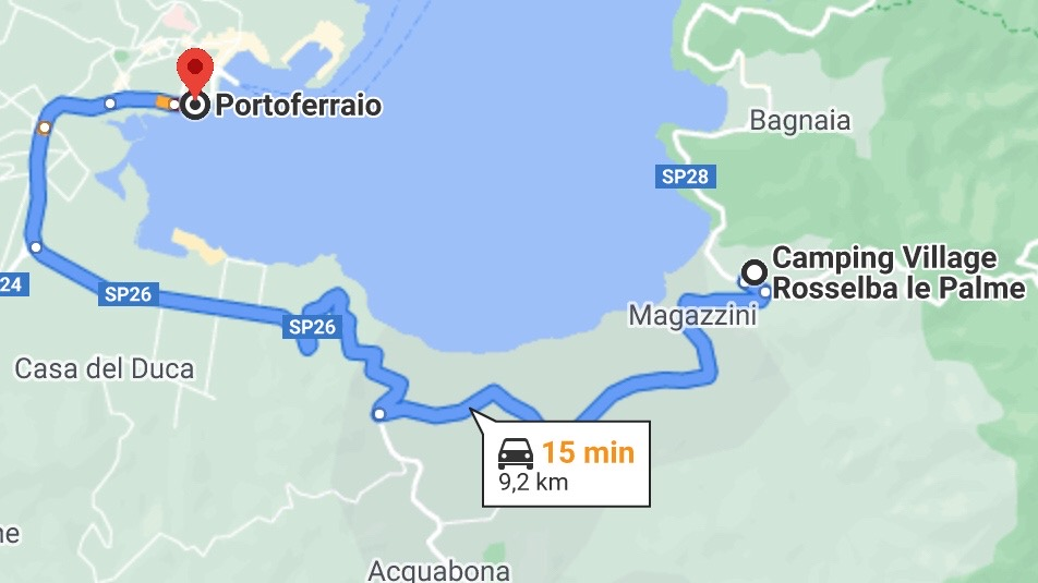 Mappa stradale da Portoferraio a Rossella le Palme