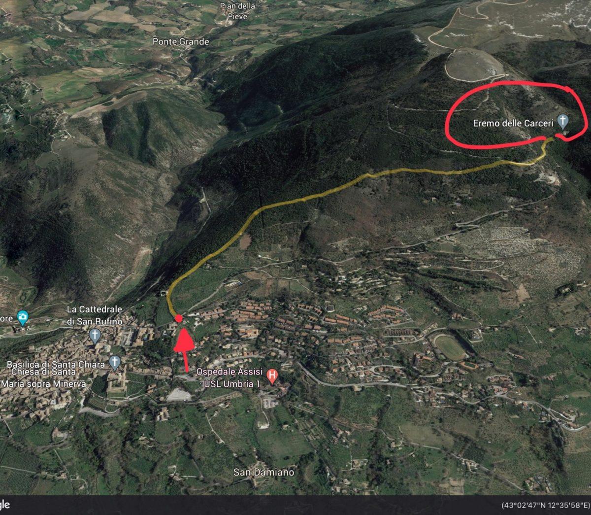 Mappa in 3D del sentiero da Assisi all'Eremo delle Carceri