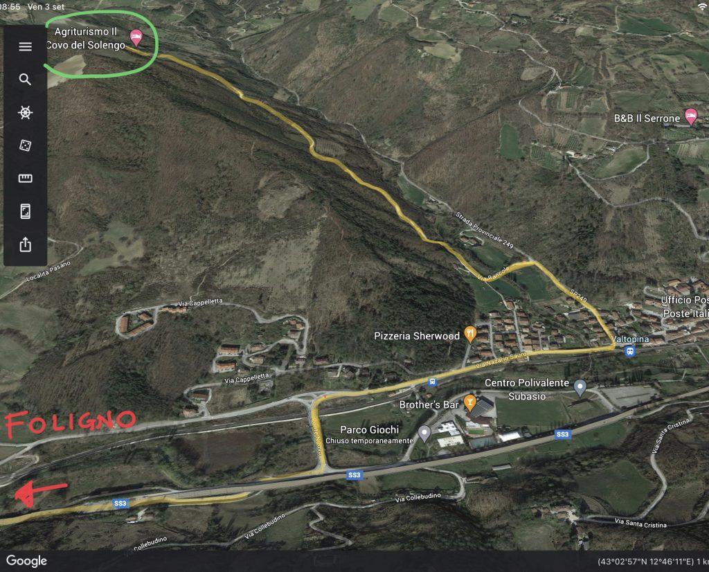 Mappa su come arrivare al covo del Solengo dalla Val Topina